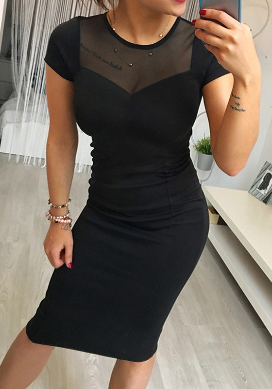 585104bdfd Vestido A media pierna cremallera de adina de cuello redondo negro ...