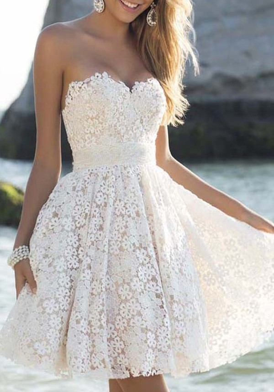 0cbacee71fc White Floral Lace Bandeau Sleeveless Sweet Party Mini Dress - Mini Dresses  - Dresses