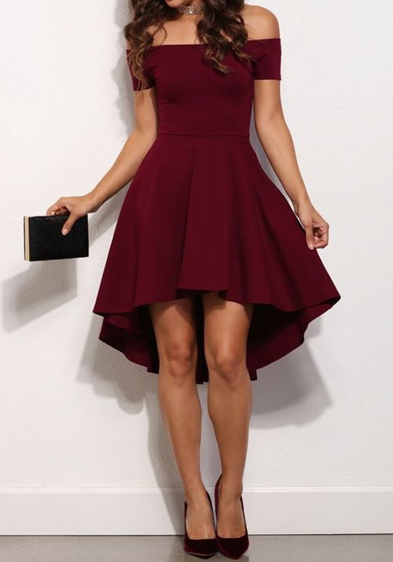 6263e3f176 Burgundy Off-Shoulder Draped High-low A-Line Swallowtail Elegant Homecoming  Skate Midi Dress - Mini Dresses - Dresses