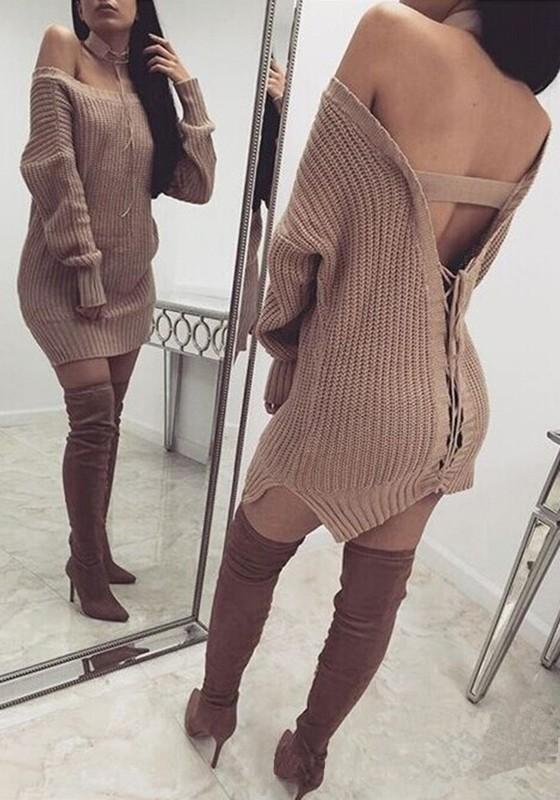 Khaki Plain Drawstring Backless Lace-up Sassy Knit Oversized ...
