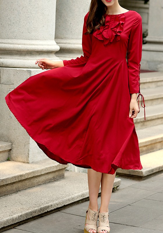 Red Plain Drawstring Round Neck Long Sleeve Midi Dress - Midi ...
