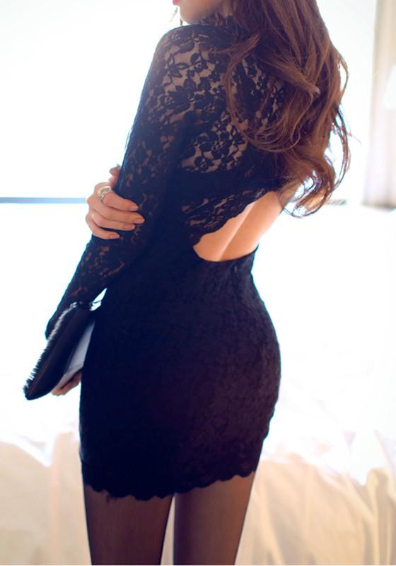 black patchwork lace round neck polyester mini dress mini dresses dresses. Black Bedroom Furniture Sets. Home Design Ideas