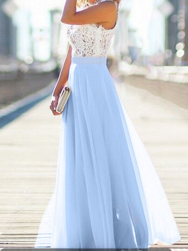 aa9821bc668 Light Blue Patchwork Lace Draped Flowy Beach Boutique Holiday Bridesmaid  Party Tulle Maxi Dress - Sundresses - Dresses