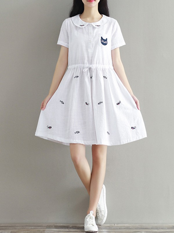 White Animal Embroidery Cat Peter Pan Collar Sweet Linen Cotton Mini