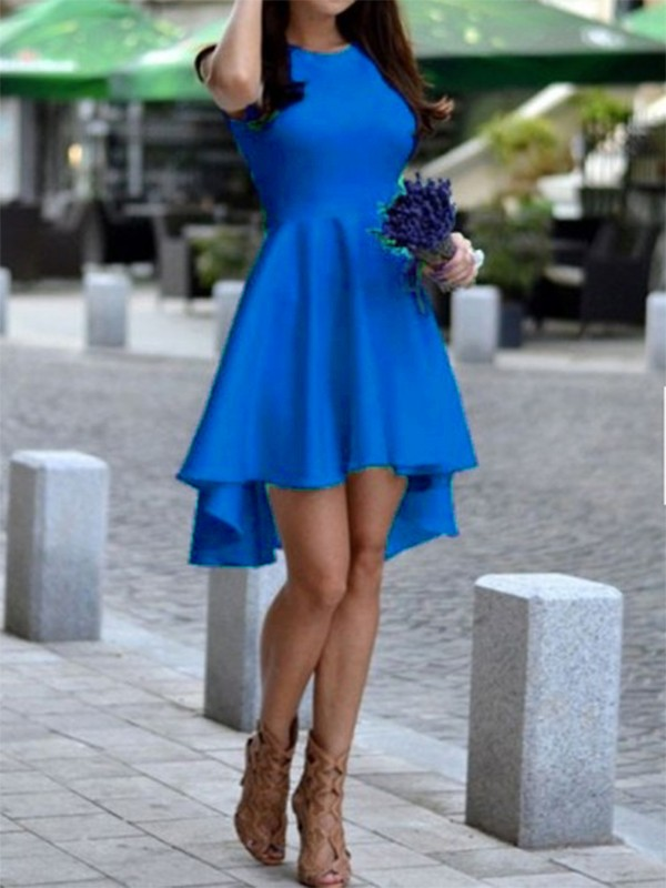 Haut Longue Bas Manches Élégant Swallowtail Trapèze Mi Sans Bleu Roi Robe tdxsrBhCoQ