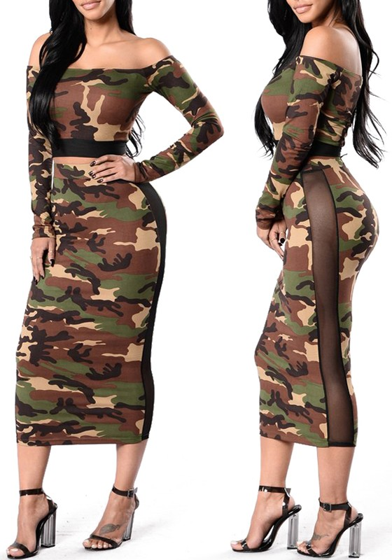 Print Off Grenadine Camouflage Army Two Shoulder Piece Bodycon Green TJc3lKF1
