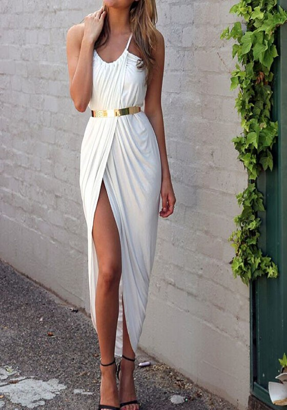 Plain White Maxi Dress