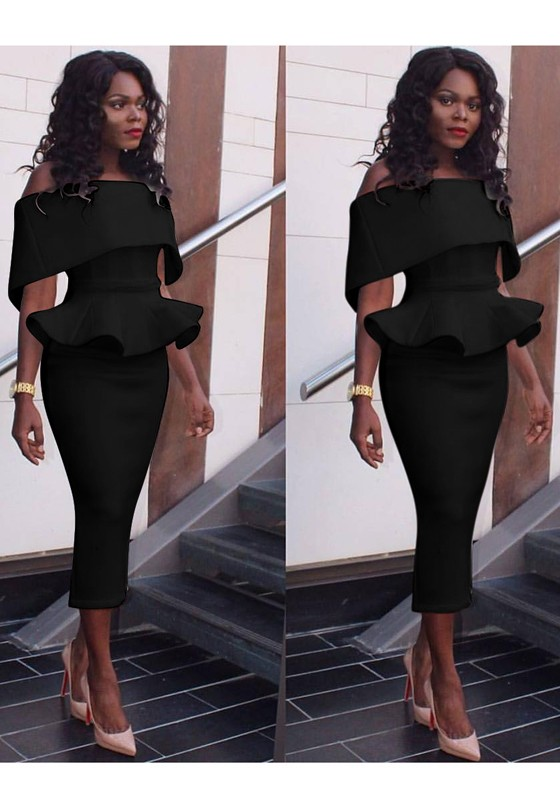 ae9ce114709 Black Solid Color Bandeau Peplum Ruffles Off Shoulder Bodycon Pencil  Cocktail Party Midi Dress