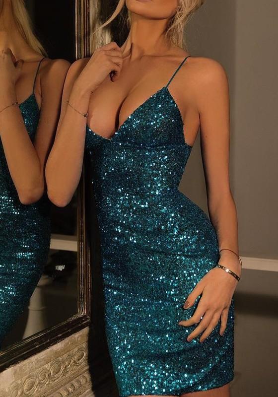 68f5e721625754 Blau Spaghettiträger Pailletten V-Ausschnitt Sexy Bodycon Enges Minikleid  Glitzernkleid Cocktailkleider Partykleid Kurz