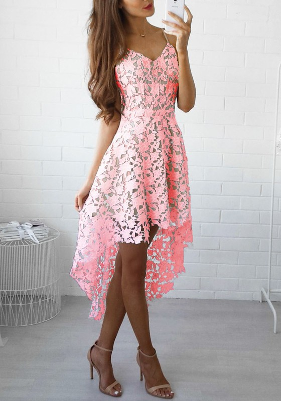 Rosa Ebene Schößchen V-Ausschnitt Mode Polyester Midi Kleid - Midi ...