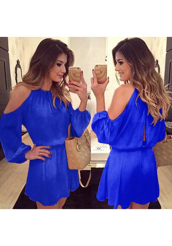Blau Ebene Condole Gürtel ausgeschnitten Mode Mini Kleid ...