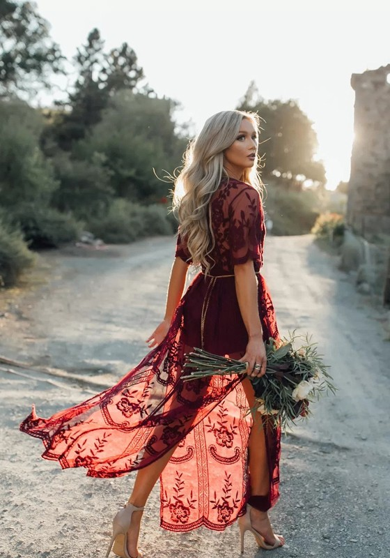 3f159fa7a5a7a Burgundy Floral Chain Lace Flowy Side Slit Deep V-neck Boho Beach Maxi Dress