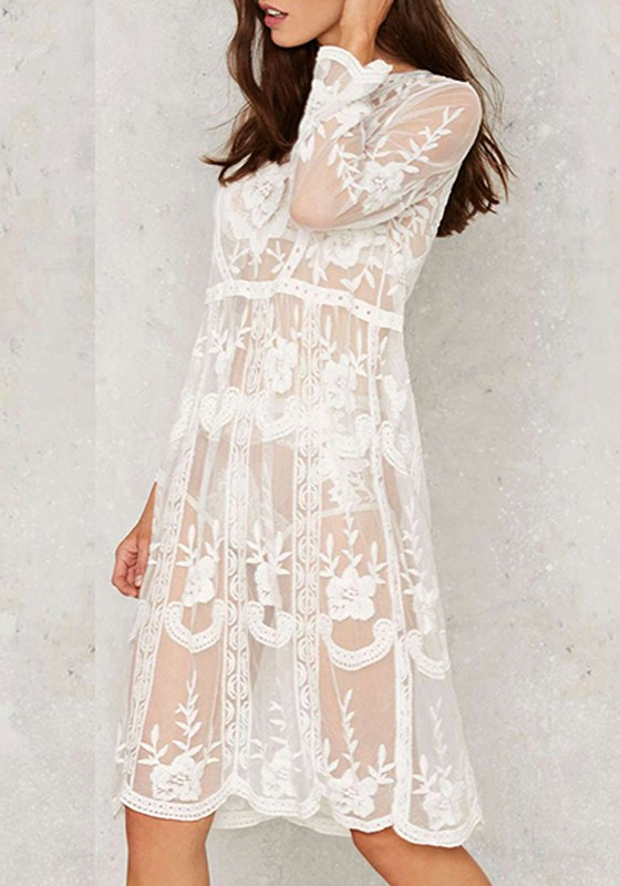 White Flowers Print Lace Hollow-out Grenadine Boho Wedding ...