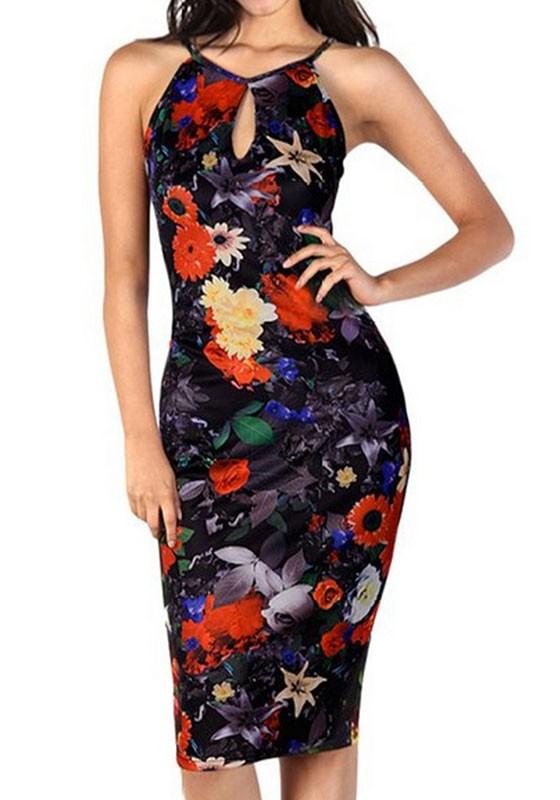 f84ad5fae8065 Black Floral Print Cut Out Sleeveless Vintage Sexy Bodycon Midi Dress