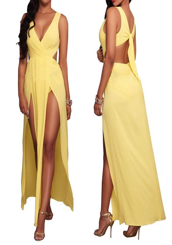 ba001473d942 Yellow Plain Tie Back Side Slit Cleavage Backless Sexy Chiffon Maxi Dress