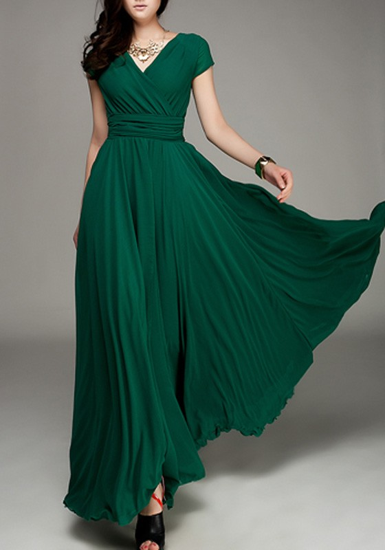 0c8ae4606630 Dark Green Pleated Double-deck Bohemian Wrap Short Sleeve Elegant Maxi Dress