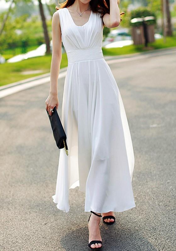 eb2b5aa916 White Double-deck Zipper Side Pull Bohemian Elegant Wedding Maxi Dress - Maxi  Dresses - Dresses
