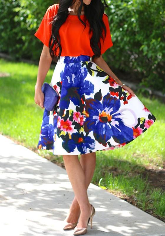 8f1d52b5dc44e Mi-longue robe avec imprimé à fleurs jupe patineuse manches courtes élégant  multicolore