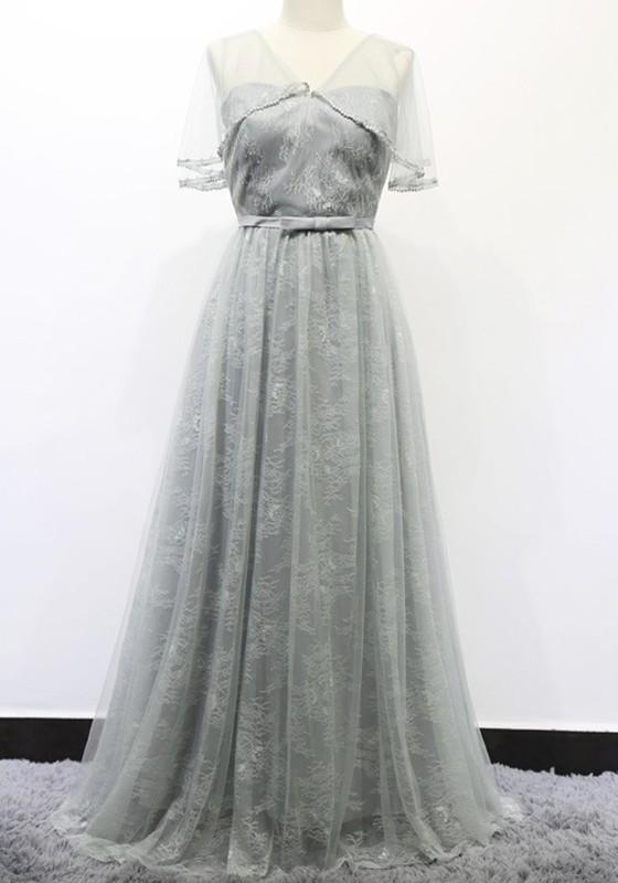 Grau mit Spitze Rückenfreies Tüll Schleife Maxikleid Elegante ...