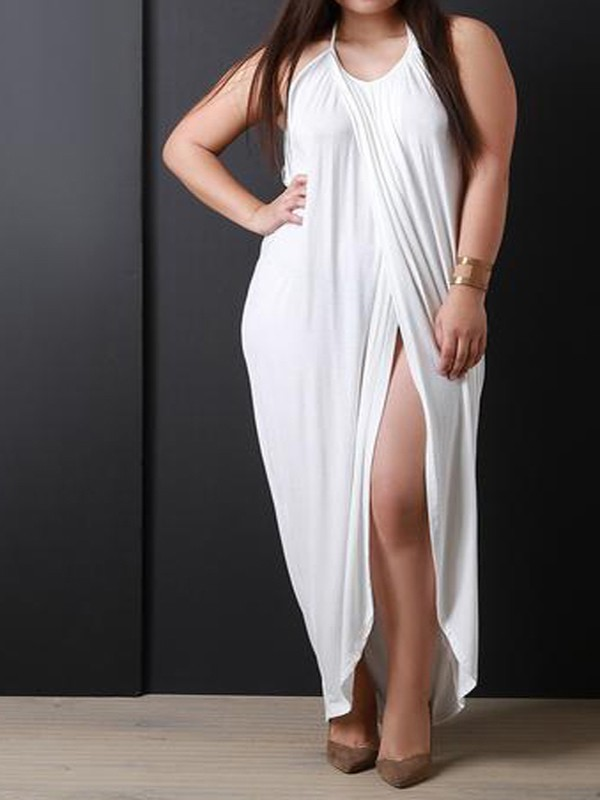 White Swallowtail Tie Back Halter Neck Slit Backless Plus Size ...