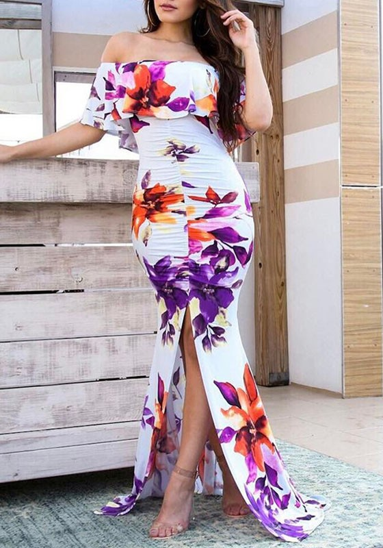 960b0121f0d0 White Flowers Print Ruffle Off Shoulder Slit Mermaid Party Ruched Maxi Dress  - Maxi Dresses - Dresses