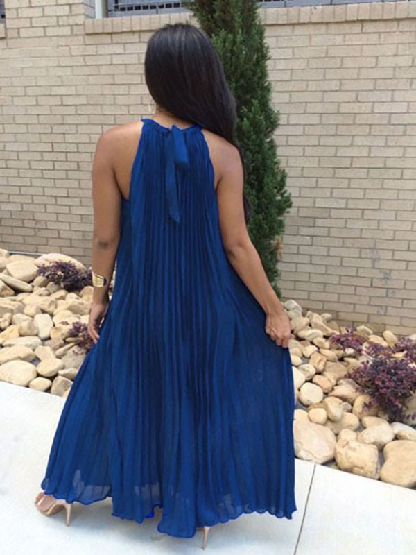 31d156567194 Royal Blue Pleated Tie Back Sleeveless Halter Neck A-line Bohemian Maxi  Dress