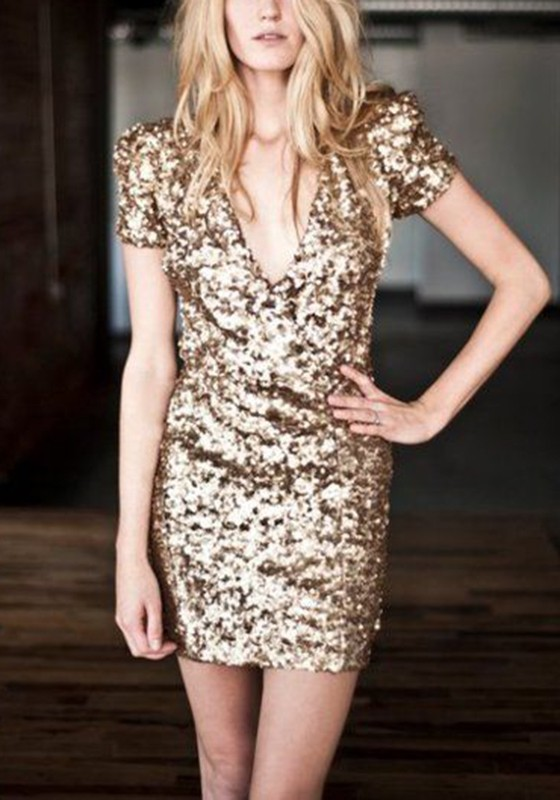 Golden Patchwork Gold Sequin Deep V-neck Club Party Mini Dress - Mini  Dresses - Dresses 686c1c19d94f