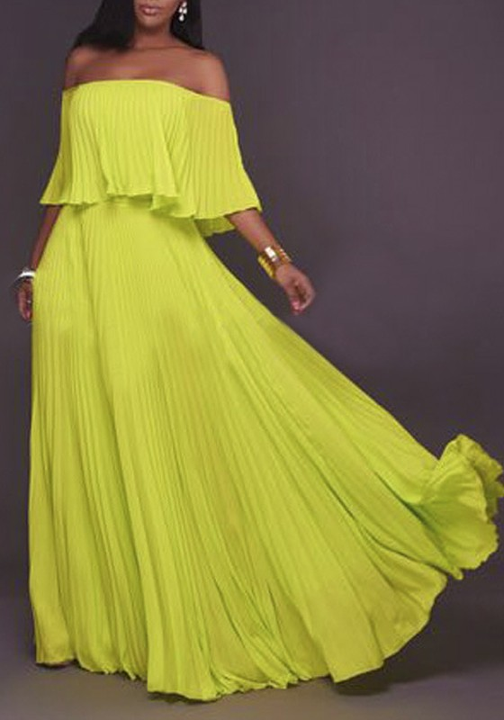 Yellow Pleated Ruffle Backless Off Shoulder Chiffon Ruched Formal