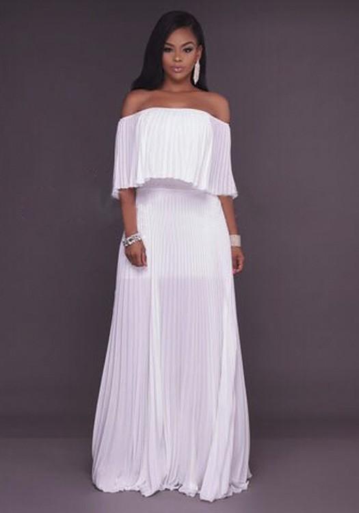 6dce325721a8 White Ruffle Bandeau Off Shoulder Chiffon Ruched Formal Elegant Maxi Dress  - Maxi Dresses - Dresses