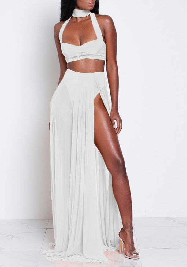 White Backless Cut Out Two Piece Zipper Side Halter Neck Bohemian Maxi Dress