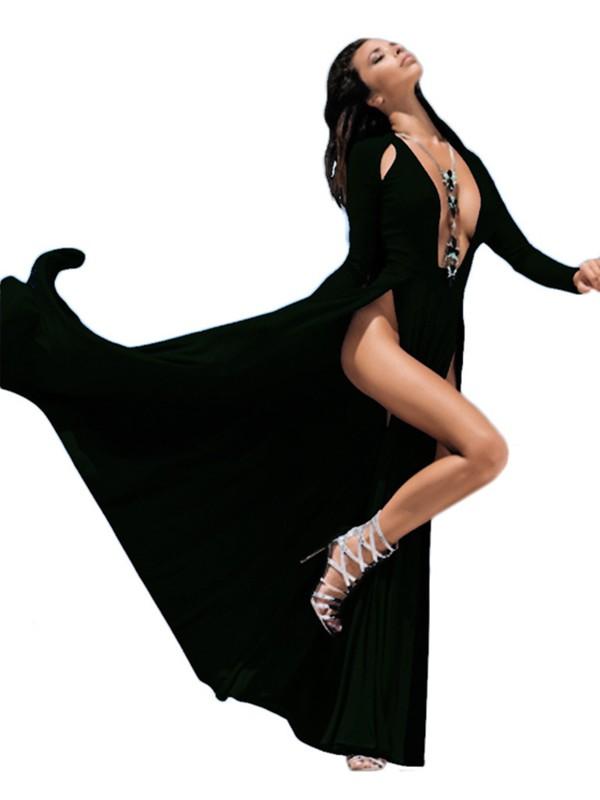 Black Cut Out Draped Deep V-neck Plus Size Double Slit Maxi Dress