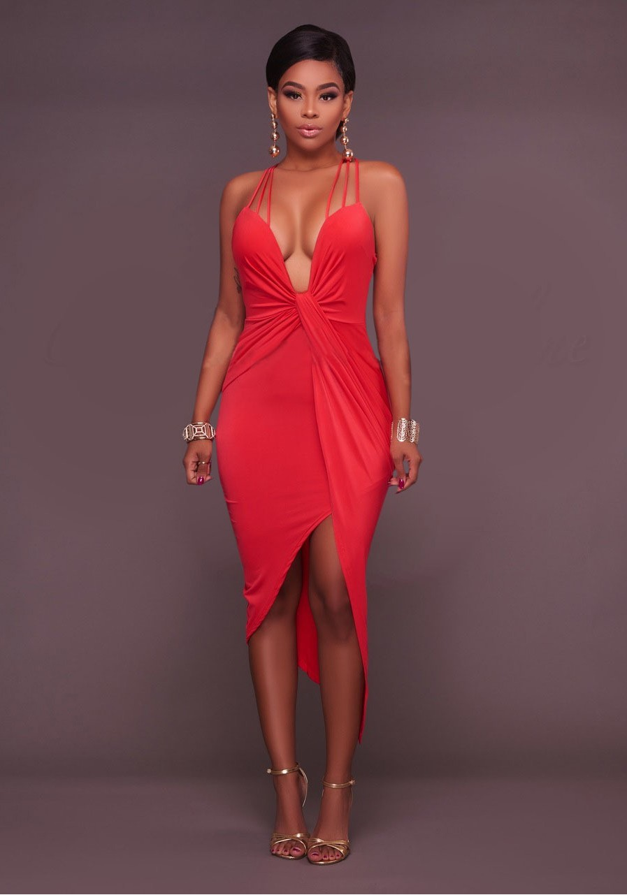 d93738835b0 Red Spaghetti Strap Backless Cross Back Irregular Ruched Bodycon Party Midi  Dress
