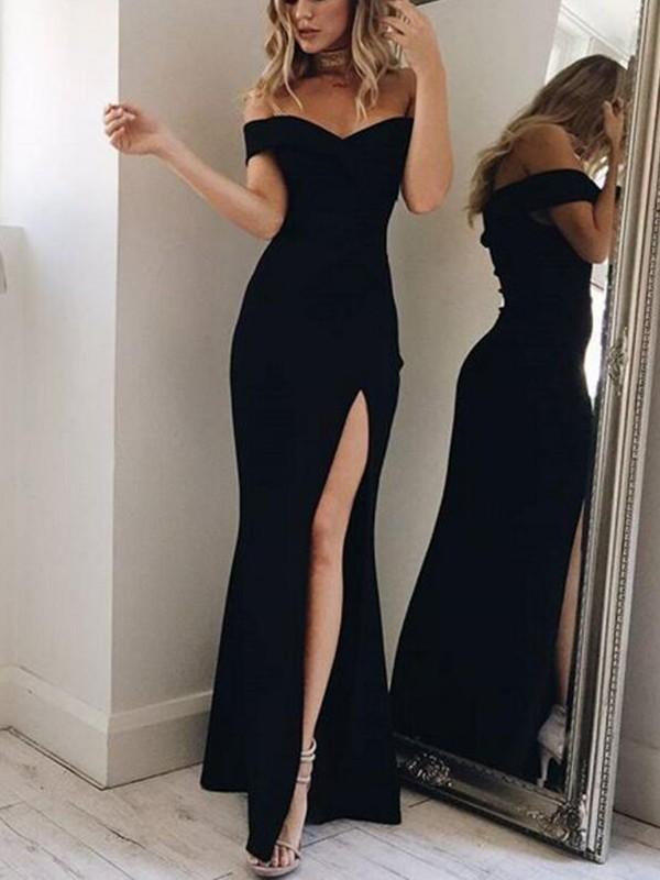 1809624d9b Black Mermaid Off Shoulder Irregular Side Slit Boat Neck Prom Elegant Maxi  Dress - Maxi Dresses - Dresses
