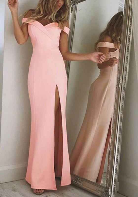 Pink Mermaid Off Shoulder Irregular Side Slit Boat Neck Prom Elegant ...