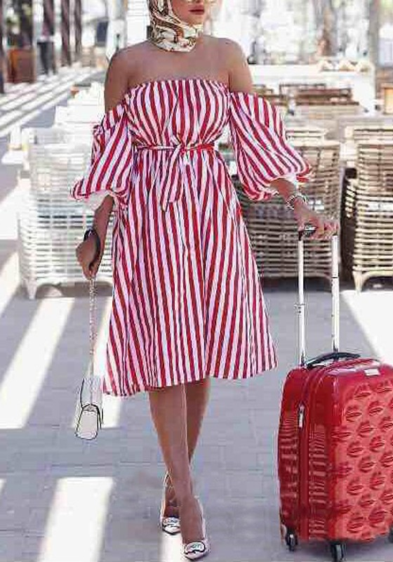 3a6b22c0117 Red Striped Off Shoulder Backless Sashes Bandeau Lantern Sleeve Homecoming  Party Midi Dress - Midi Dresses - Dresses