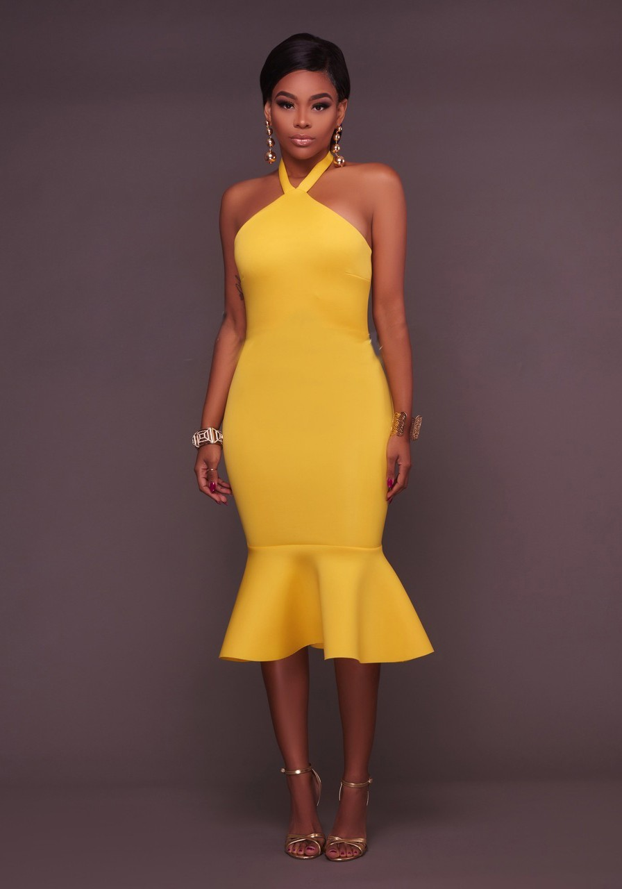Yellow Ruffle Backless Halter Neck Bodycon Trumpet Party Maxi Dress ...