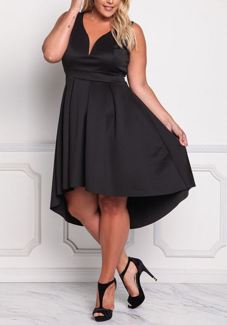 Black Irregular Pleated V-neck High-Low Plus Size Elegant Homecoming Party  Midi Dress