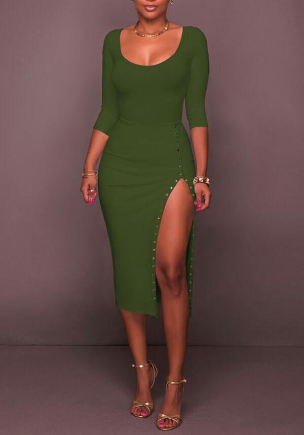 f33879fc6357 Green Rivet Side Slit Bodycon 3 4 Sleeve Round Neck Party Maxi Dress - Maxi  Dresses - Dresses