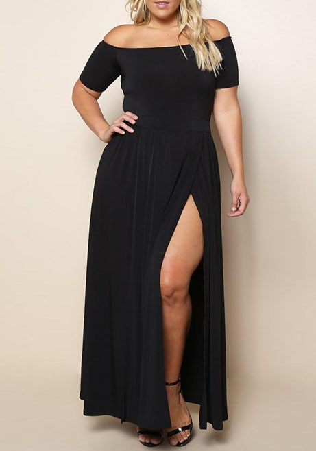 Black Draped Off Shoulder Backless Side Slit Plus Size Party Maxi ...