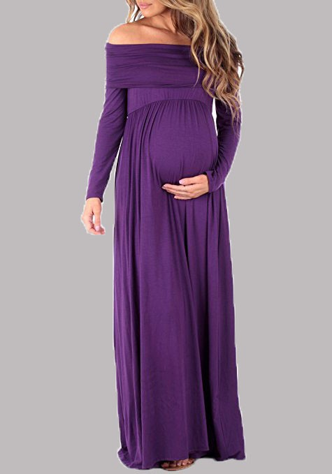 5e509c784e891 Purple Off Shoulder Backless Draped Maternity Short Sleeve Maxi Dress - Maternity  Dresses - Women's Maternity