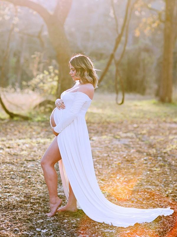 niedrigster Rabatt Kundschaft zuerst Factory Outlets Weiß Off Shoulder Langarm Schleppe Maxikleid Mutterschaft Kleid  Umstandskleid für Fotoshooting