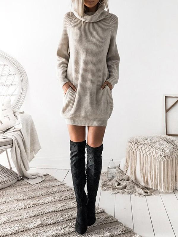 457d5cd6b51 Robe pull en tricot maille avec poches col roulé manches longues ample  décontracté blanc cassé