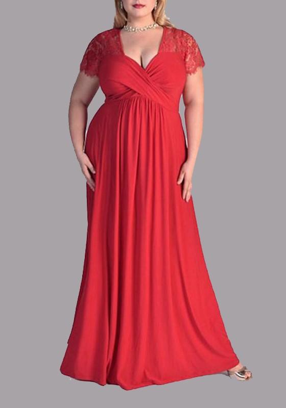 Red Patchwork Zipper Lace Plus Size Deep V-neck Short Sleeve Elegant Maxi  Dress