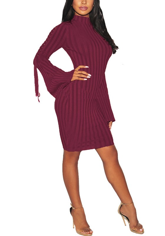 Burgundy Striped Lace Up Round Neck Flare Sleeve Plus Size Clubwear