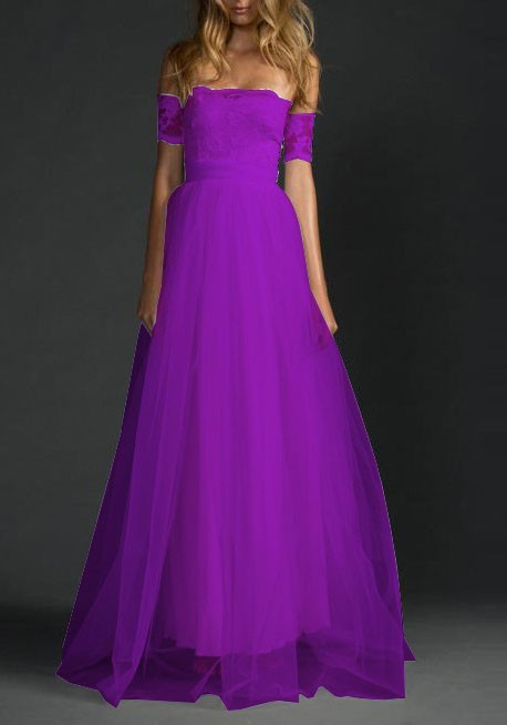 Purple Draped Lace Grenadine Off Shoulder Backless For Wedding Party ...