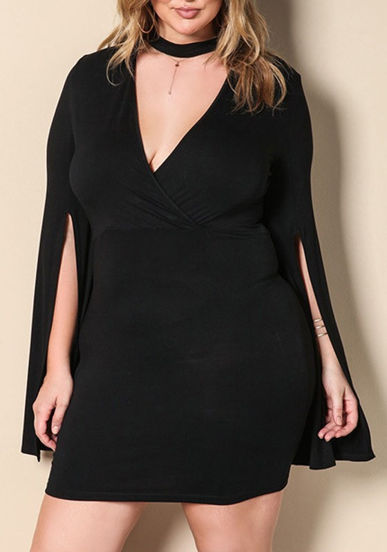 Black Irregular Cut Out Plus Size Deep V-Neck Slit Homecoming Party Mini  Dress