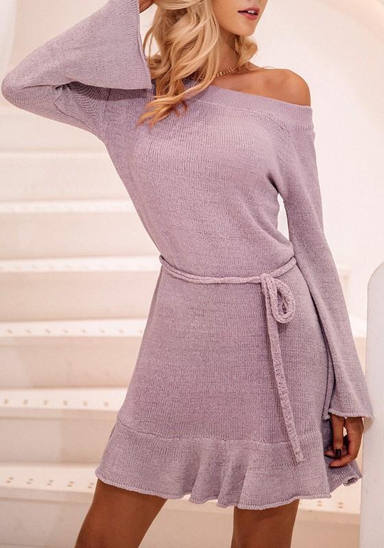 mini robe charpe paule dos nu manches longues arr tez vous violet clair robes mini robes. Black Bedroom Furniture Sets. Home Design Ideas