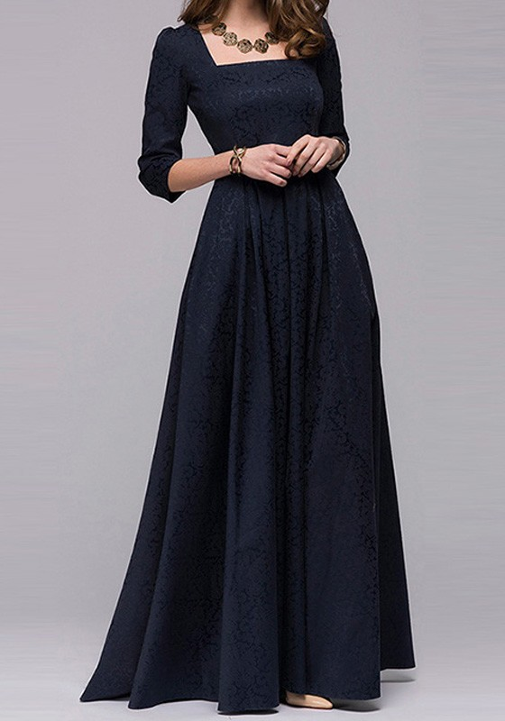 Navy Blue Irregular Square Neck 3 4 Sleeve Maxi Dress Maxi Dresses