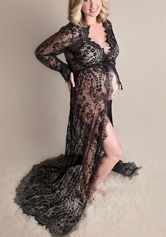 Black Lace Deep V Side Slit Long Sleeve Maternity Maxi ...