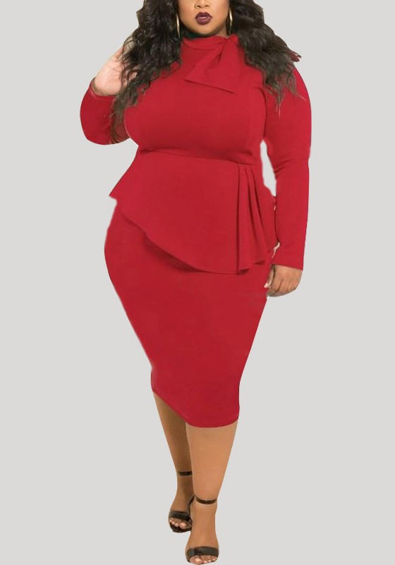 912a5ea99f92 Red Draped Peplum Bowknot Long Sleeve Round Neck Plus Size Party Midi Dress  - Midi Dresses - Dresses